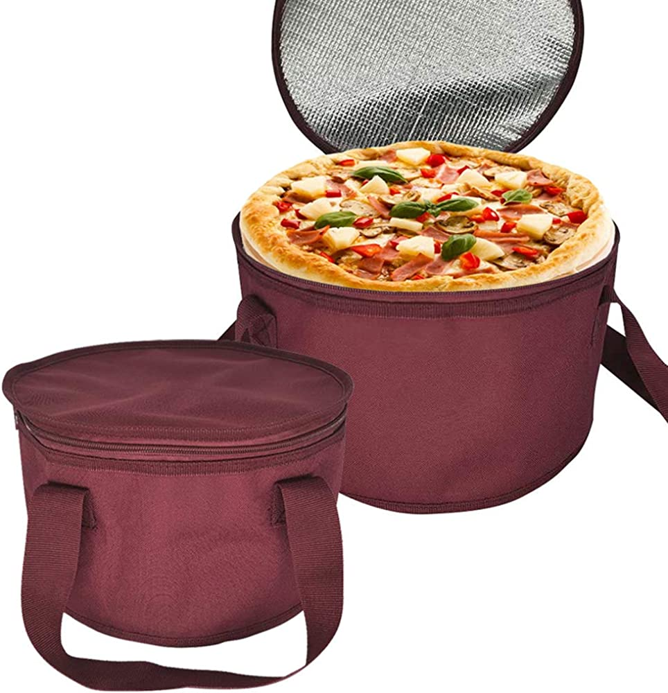 2Pack Oversized Insulated Round Thermal Casserole Food Carrier,Pie Carrier,Lunch Bag for Potluck,Picnics,Thermal Bag for Hot/Cold Food,11X7inch,Red Color