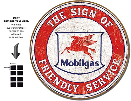 Shop72 - MobilGas Tin Signs Retro Vintage Gas Tin Sign n Oil Tin Sign Wall Decor Garage -