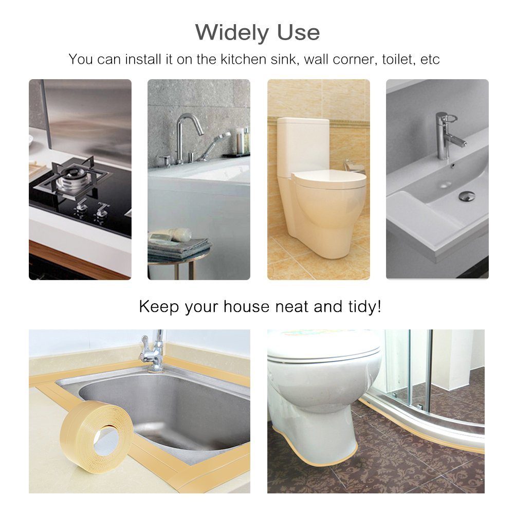 Amazon.com: Moooncity Caulk Strip PE Bath and Shower Self Adhesive ...