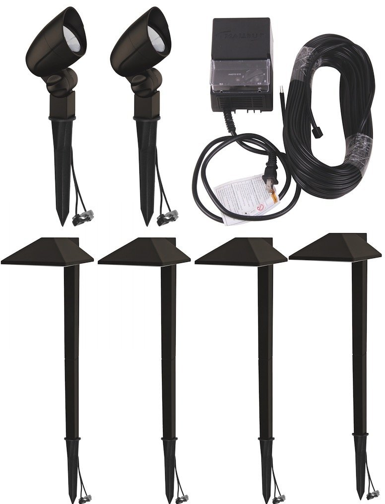 Malibu Equinox 6 PACK LED Light Kit LED Low Voltage Landscape Lighting, 4 LED Pathway lights + 2 Led Floodlights + 75' of Cable + 45W Power Pack 8409-1901-06 by Malibu C