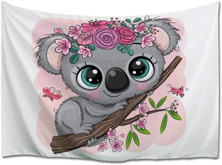 A.Monamour Tapiz de Pared Lindo Caricatura Koala con Flores En Un Árbol Fondo Rosa Tela Colgante de Pared Tapices Pared Decorativos para Sala de Estar Dormitorio