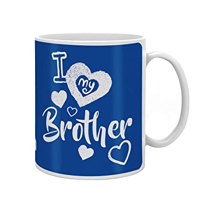Indi ts Quote Printed Gift Set of 330ml Mug Crystal Rakhi Roli and Greeting Card for Brother White and Blue