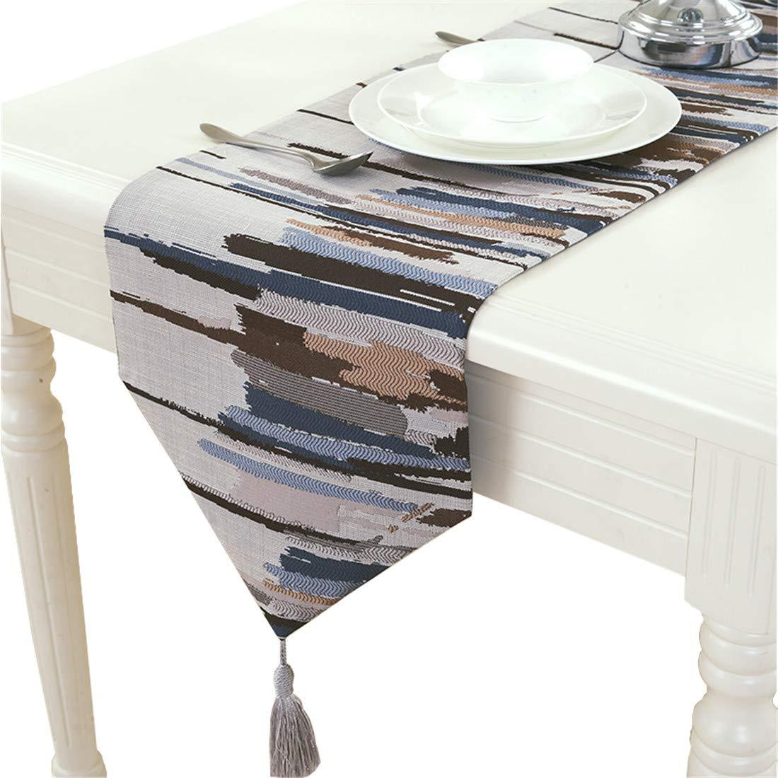 Breve estilo jacquard arpillera gris/azul/rojo camino de mesa, azul, 30cm * 160cm (12 * 63 approx) Homes hold table runner