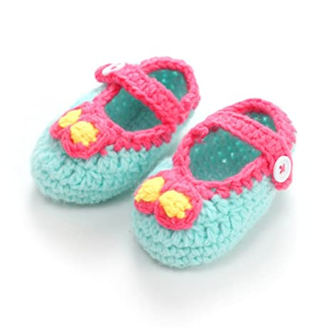 ainiour® Bebé recién nacido Niñas cuna ganchillo hecho a mano de punto calcetines lazo Prewalker
