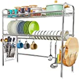 Over The Sink Dish Drying Rack,2-Tier 304 Stainless Steel Large Dish Drainers for Kitchen Counter Length Adjustable -Silver(S