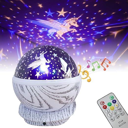 EXTSUD Proyector Estrellas Lámpara Proyector Infantil 360°Giratorio con 8 Canciones Lámpara Proyector Luz Nocturna, Regalo para Navidad, Año Nuevo, ...