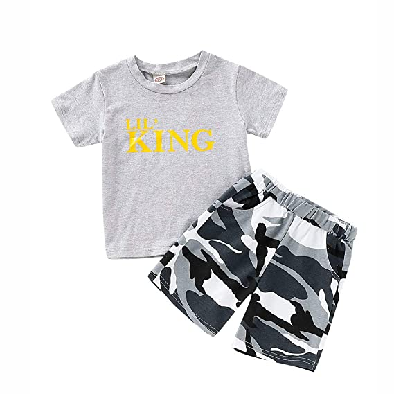 TTLOVE Sommer Kinder Kleidung Infant Baby Boy Kid Brief Gedruckt T-Shirt Tops Camouflage Shorts Outfits Set