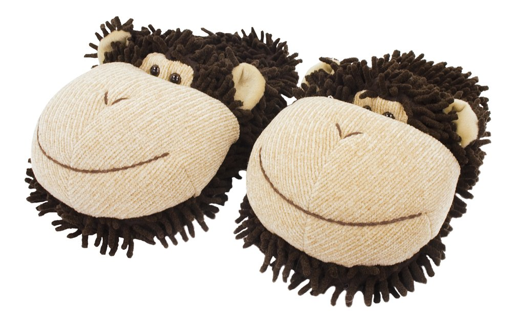 Aroma Home Kids Fuzzy Friends Monkey Slipper, Small, Brown
