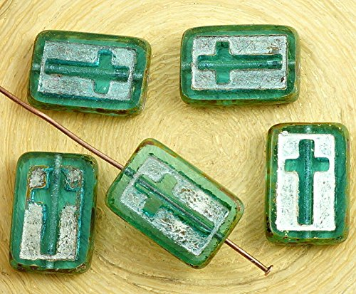 - 2pcs Picasso Crystal Aquamarine Blue Silver Patina Wash Rectangle Flat Window Table Cut Cross Religious Christian Rosary Czech Glass Beads