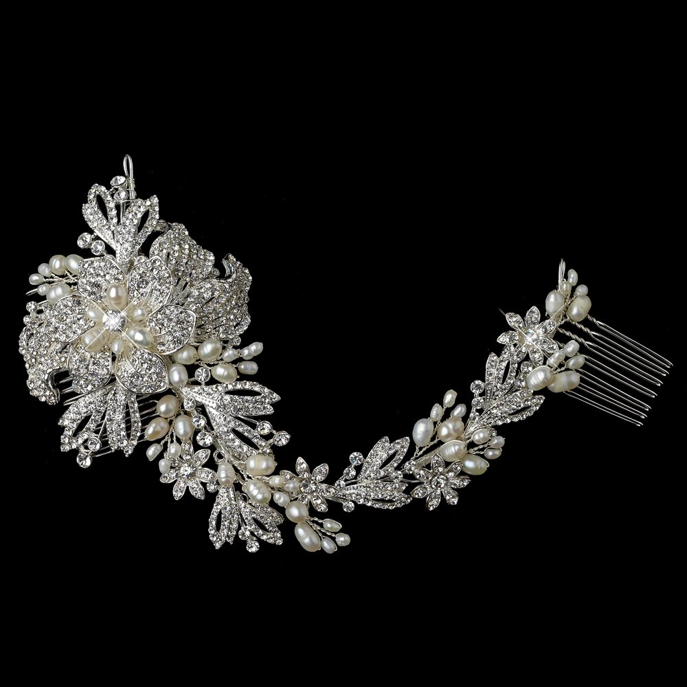 Graceful Freshwater Pearl, Rhinestones Floral Vine Wedding Bridal Special Occasion Side Comb