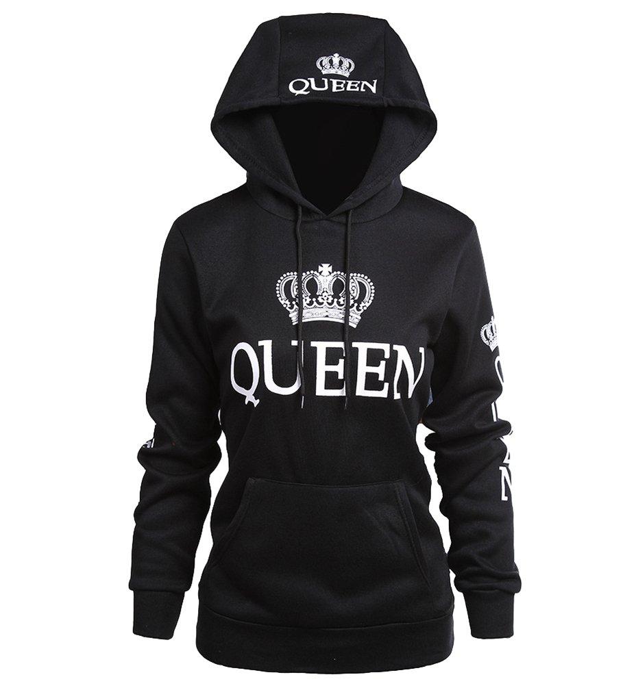 ZKOO Coppie Felpa con Cappuccio King& Queen Corona Stampa Felpe Pullover Uomo e Donna