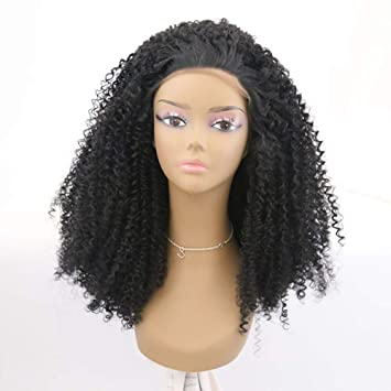HYISHION Peluca Rizada Pelo Larga Hair Lace Front Wigs Pre Plucked 13 * 4 with Curly