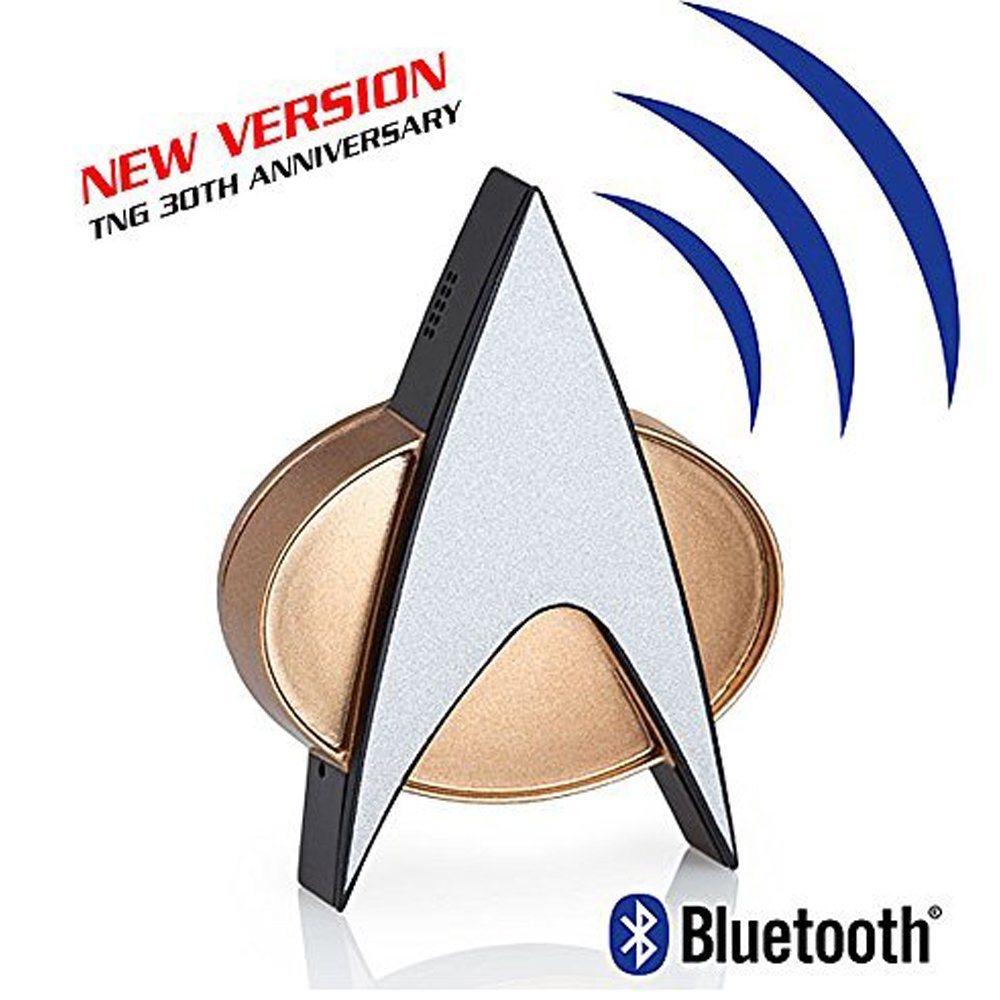 Star Trek Next Generation Bluetooth Communicator Badge - TNG Combadge with Chirp Sound Effects Microphone & Speaker - Enterprise Memorabilia, Gifts, Collectibles, Gadgets & Toys for Star Trek Fans