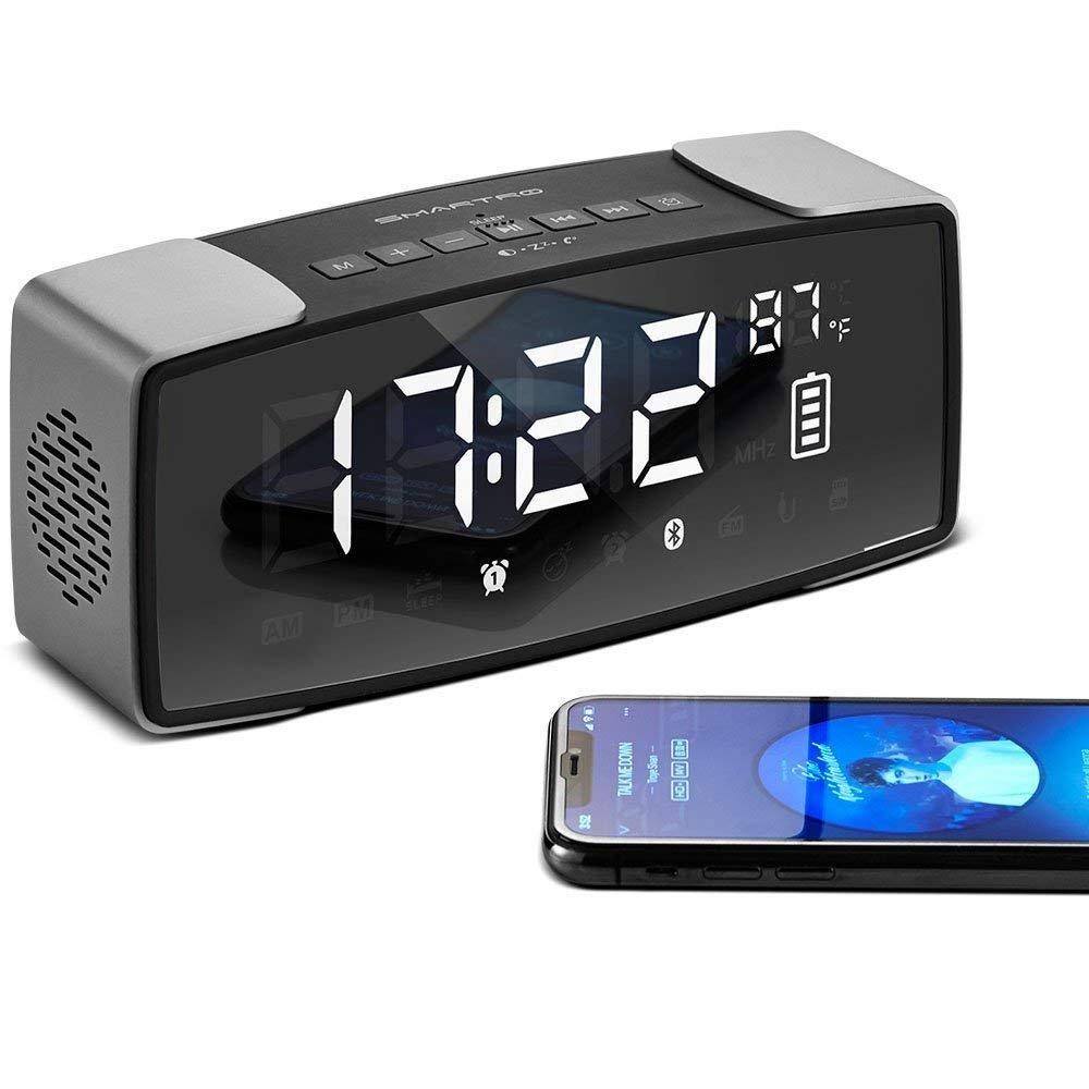 SMARTRO P2 Alarm Clock Bluetooth Speaker, Dual Loud Alarm Clocks Radio for Bedrooms, Bedside, Travel, Heavy Sleepers, 7'' Large LED Display, Digital FM Radio, Stereo Sound, Snooze, AC& Battery Operated