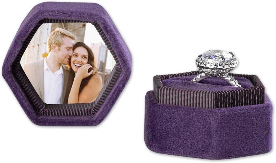 Amazon Com Koyal Wholesale Custom Photo Velvet Ring Box Hexagon Vintage Wedding Ceremony Ring Box With Detachable Lid 2 Piece Engagement Ring Box Holder Modern Proposal Idea Deep Purple Home Kitchen