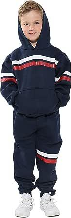 Kids Girls Boys Tracksuits Navy Fleece Hoodied Joggingsuit Top Bottom Sportswear