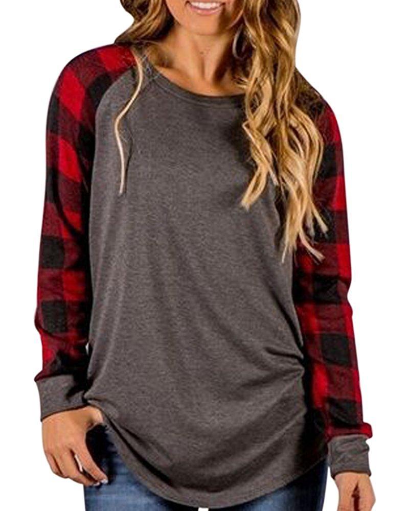 Young17 Casual Women Top Blouse Long Sleeve Raglan Plaid Sweatshirts Fall Shirt Tunics for Women