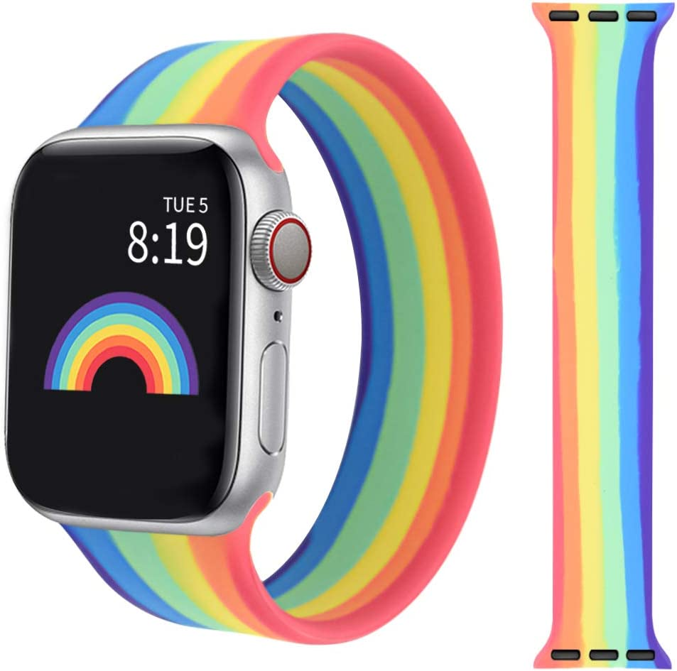 Watbro Compatible with Rainbow iWatch Band 38mm 40mm 42mm 44mm,Elastic Rainbow Silicone Strap Replacement Band Soft Skin Friendly Compatible with iWatch Series SE/6/5/4/3/2/1 for Men Women