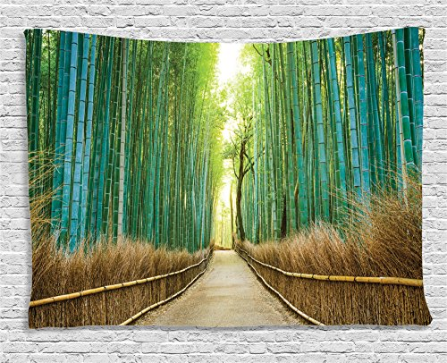 Ambesonne Bamboo Forest In Japan Collection, Panoramic View Of Historic Landscape Park , Bedroom Living Room Dorm Wall Hanging Tapestry, 60W X 40L Inch