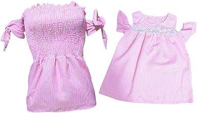 Moneycom - Vestido para Madre y niña a Rayas Surtidas, Vestido de Camisa para niña y niña, Vestido de Familia, cumpleaños, Boda, Ropa de Familia, Color Rosa: Amazon.es: Ropa y accesorios