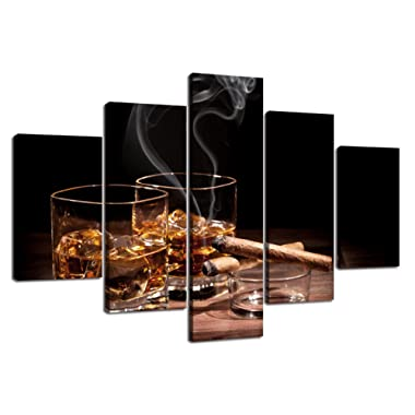 Home Decor Canvas Wall Art Modern Cigar and Wine Painting Glass of wine Whiskey,high Definition Picture Multi Piece Print Cigarette Poster 5 Panel Liquor with Wood Frame Ready to Hang(60''Wx40''H)