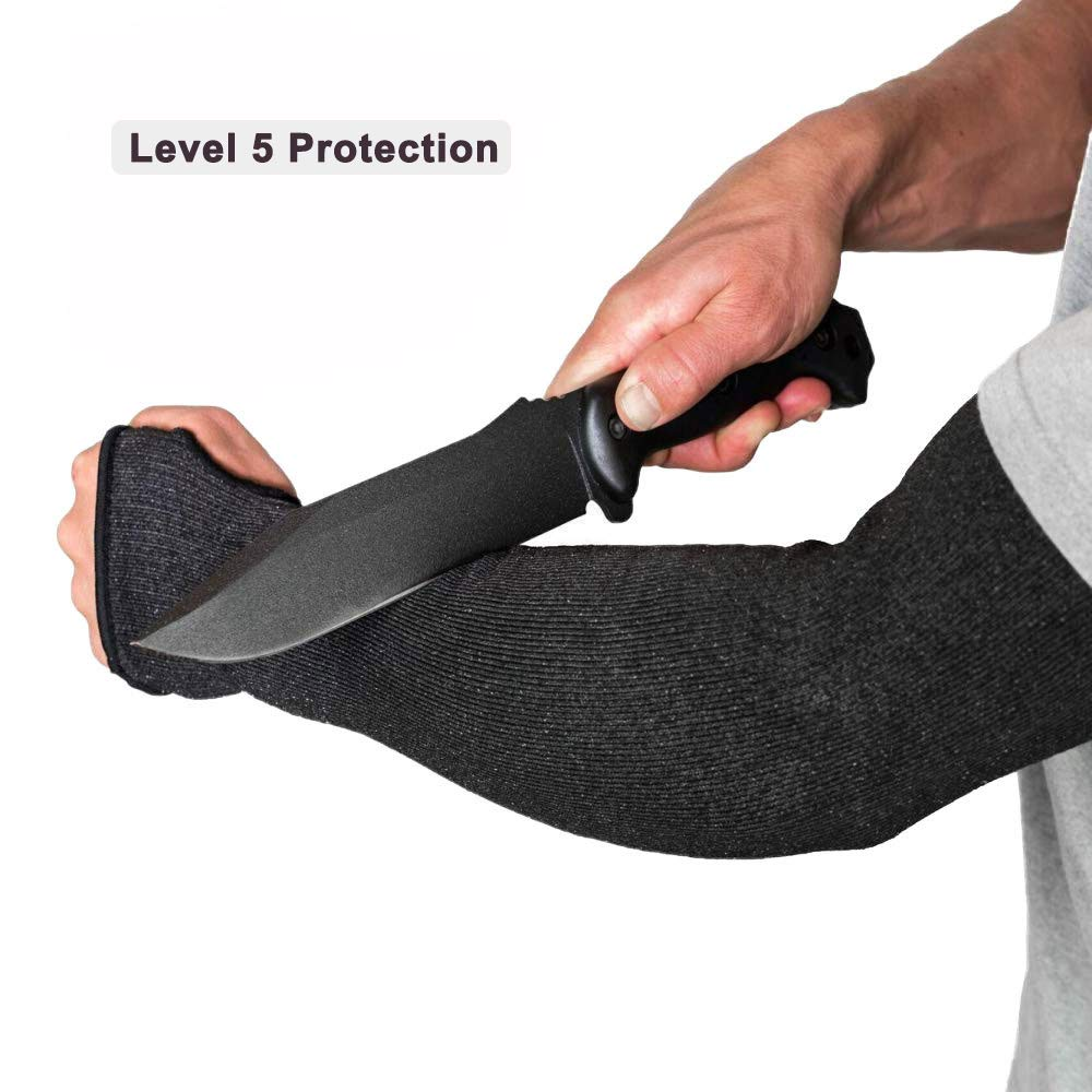 Level 5 Protection Cut Resistant Sleeves with Thumb Hole /… Black Protective Arm Sleeves