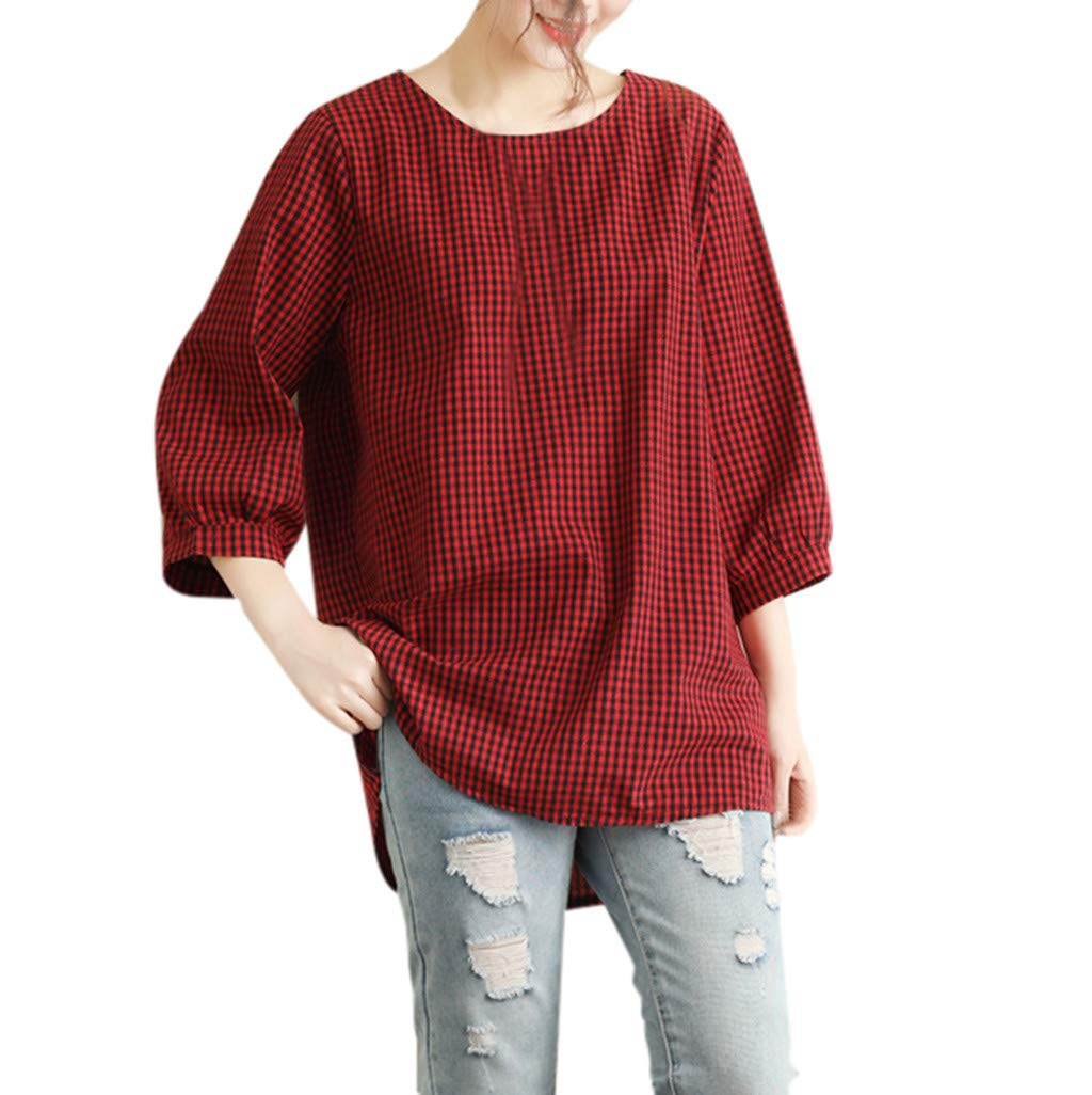 1e06d4e088a Shirts Blouse for Women 3/4 Sleeve Hosamtel Plaid Loose Summer Casual  Cotton Linen Tunic Tops T-Shirt for Womens Clearance: Amazon.com: Grocery &  Gourmet ...
