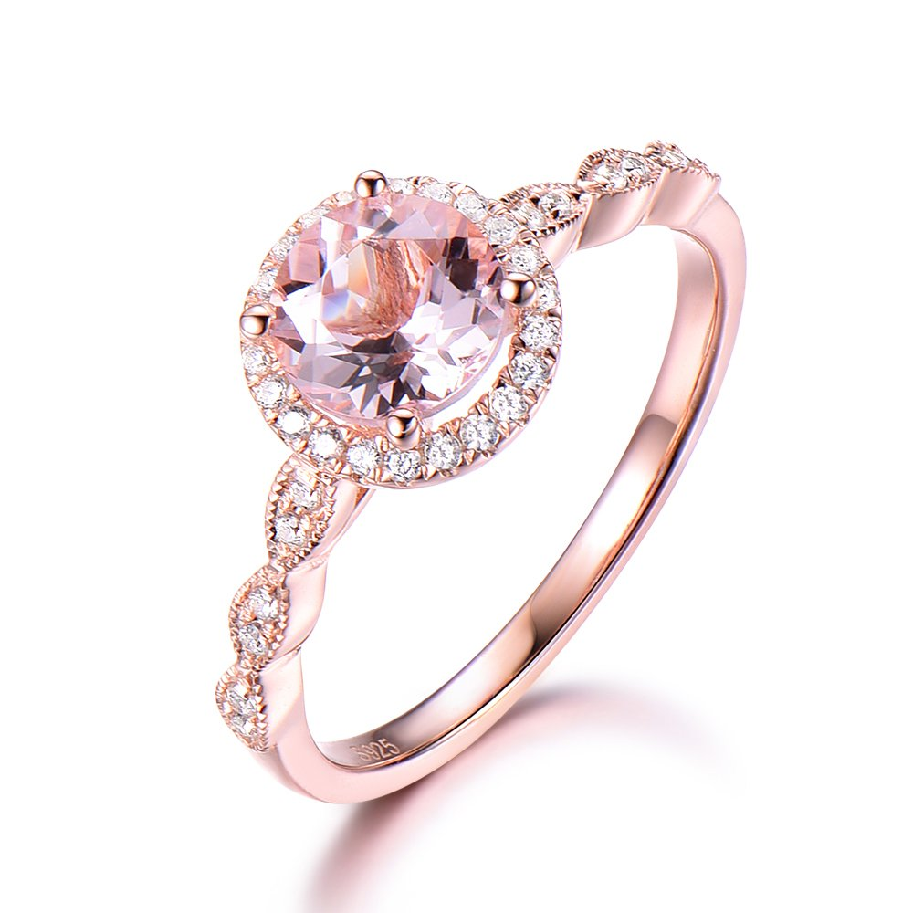 925 Sterling Silver Morganite Rose Gold Plated Antique CZ Halo Band Engagement Ring Wedding Band Milgrain
