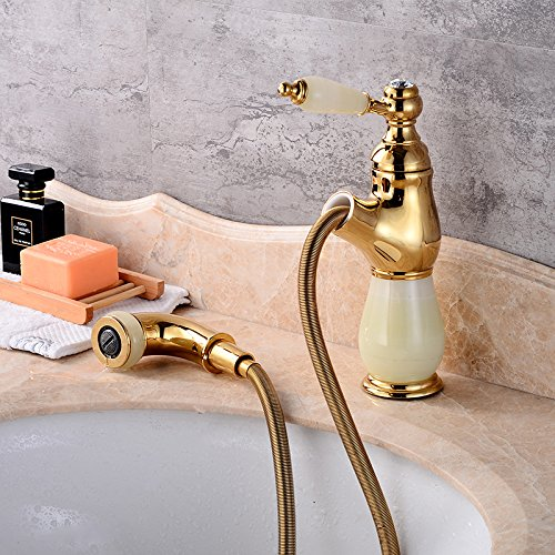 F Makej Basin Faucet European Retro Marble Water Mixer Taps Swivel 360 Degree Pull Out Single Handle R