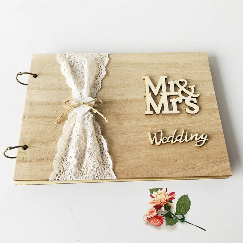 Liaobeiotry Livre dor personnalis/é en bois rustique Mr Mrs Livre dor de mariage Album photo souvenir Cadeau danniversaire 01