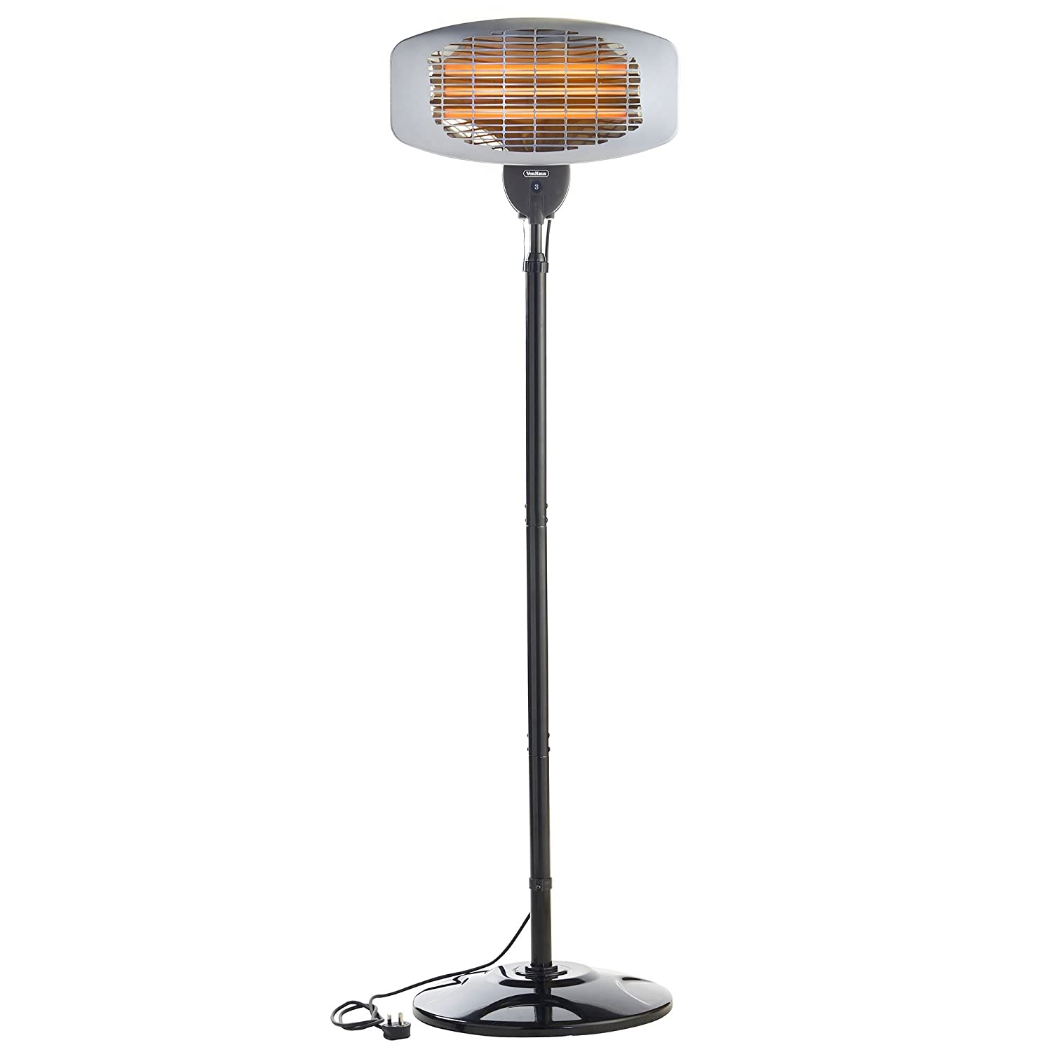 VonHaus Electric Patio Heater 2000W Free Standing - Quartz Heating,  Outdoor, Garden, Weatherproof Safety Rated to IPX4 - Height Adjustable with  3 Heat