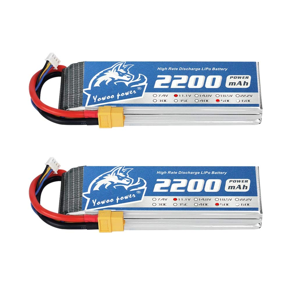 2pcs 11.1V 3S 2800mAh LiPo Battery 40C T Plug for RC Helicopter Drone Quadcopter