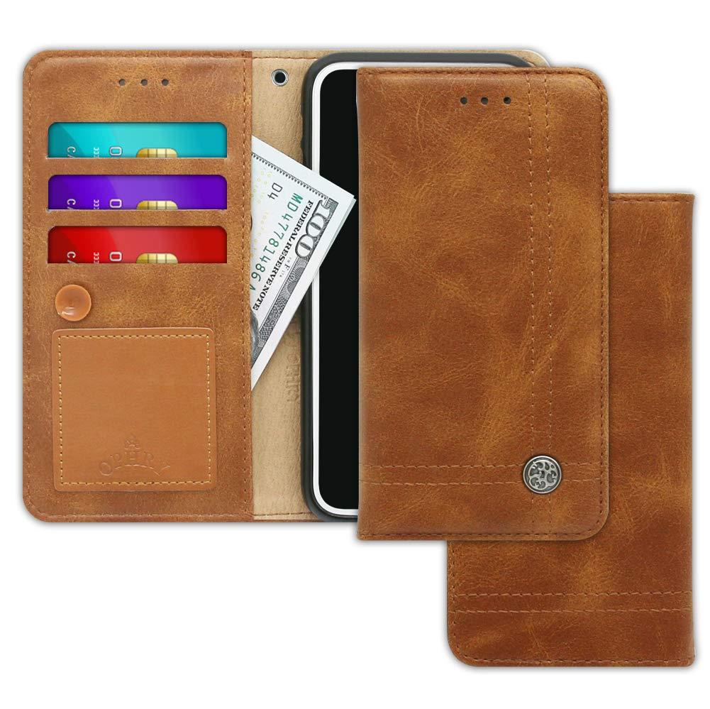 OPHRY Motorola Moto G6プレイケーススリムウォレットデザイン付きTRIMLINEフリップダイアリーカバー[タコVer。] - カードホルダー、キャッシュスロット、キックスタンド、モトG6用ストラップ&メッセージパッドPlay Hush Brown   B07KJJ56CF