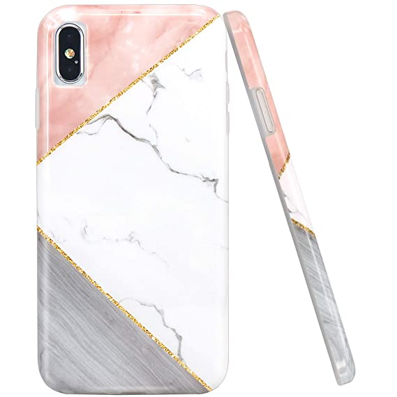ebea4b31db4e2 JAHOLAN iPhone X Case iPhone Xs Case Pink Geometric White Marble Design  Clear Bumper Glossy TPU Soft Rubber Silicone Cover Phone Case for iPhone Xs  ...