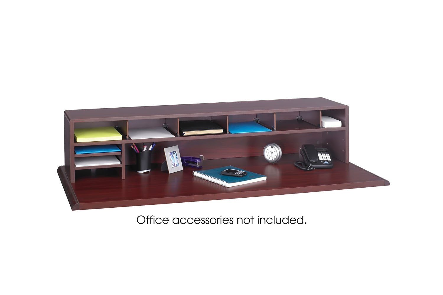 "Amazon.com : Safco Products 3671MH Low Profile Desk Top Organizer, 58""W,  Mahogany : Literature Organizers : Office Products"