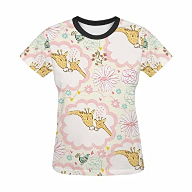 69103aa9 Image Unavailable. Image not available for. Color: Womens Graphic t-Shirts  Print with Cute Colorful Giraffe Pattern