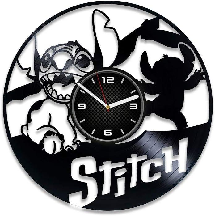 Kovides Lilo and Stitch Clock Lilo and Stitch Wall Clock Modern Disney Clock Xmas Gift Vinyl Record Wall Clock Lilo and Stitch Vinyl Clock Gift for Kids Lilo and Stitch Birthday Gift Disney Gift
