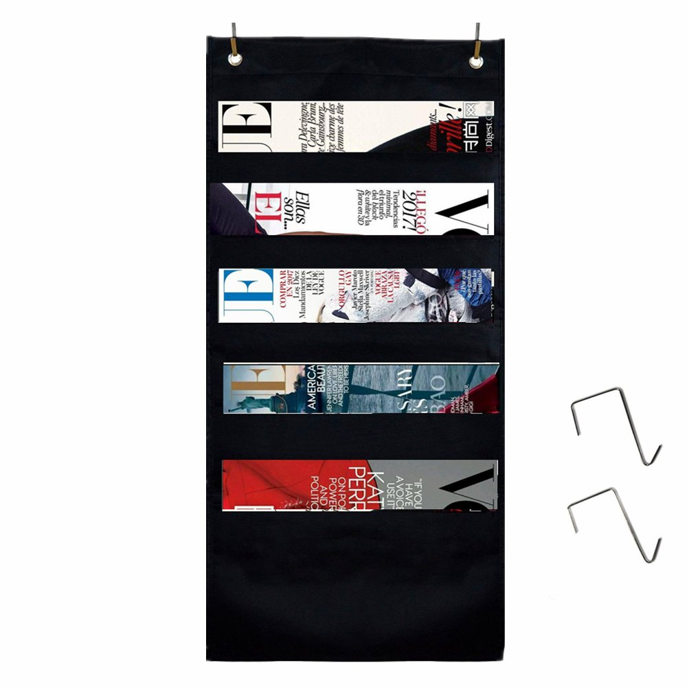 5 Pockets Hanging Wall Organizer, Okroo File Organizer for Office, Classroom, Dorm.Home Space Saver 2Pack