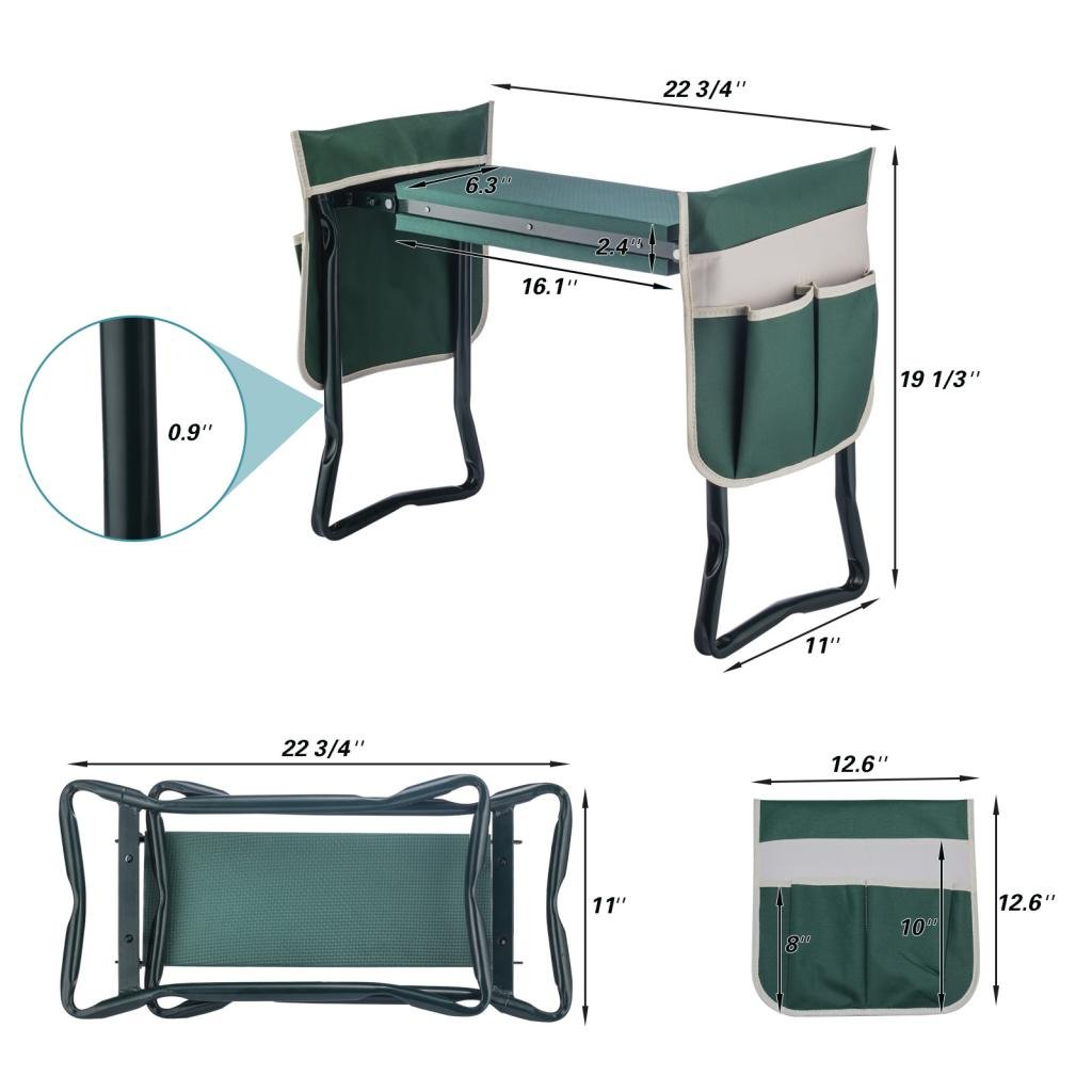 Ideal Choice Product Deep Seat Garden Kneeler and Seat-FoldingGarden Kneeler with 2 Ex-Large Tool Pouches-Gardener Foldable Bench Stool with Kneeling Pad Cushion-Gardening Bench by Ideal Choice Product (Image #6)