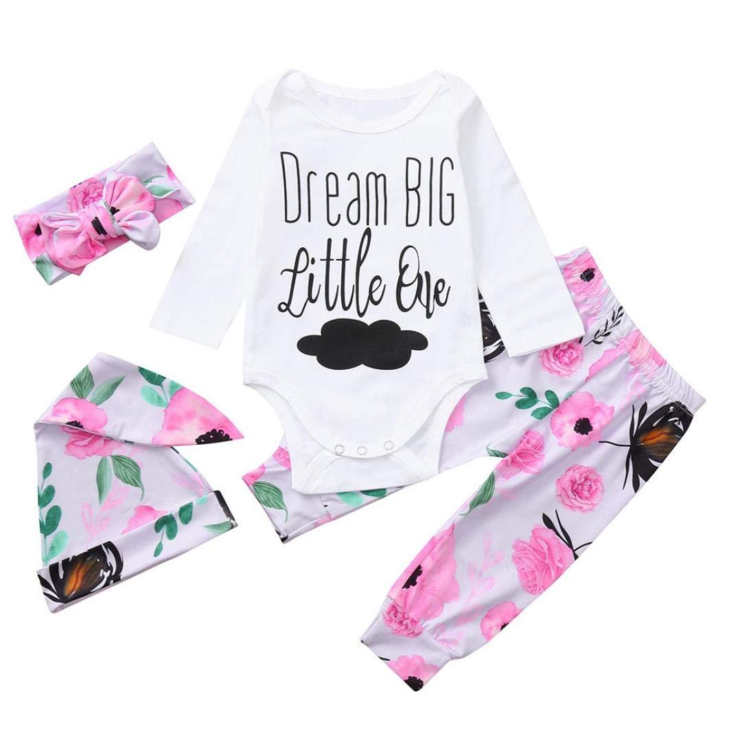 Newborn Autumn Romper Sets,Jchen(TM) Newborn Baby Girl Letter Cloud Print Tops+Floral Pants+Hat+Headband Set Clothes for 0-24 Months (Age: 0-3 Months)