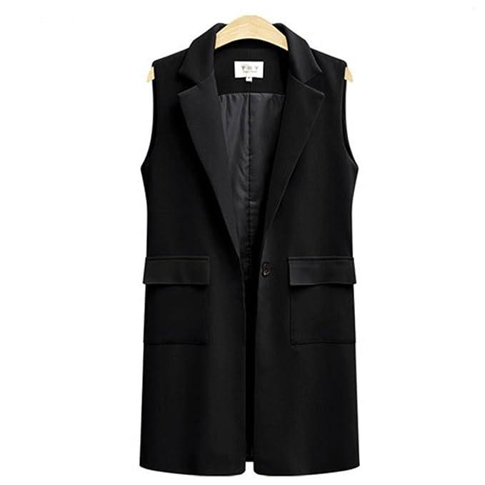 Amazon.com: mrxcff chalecos de mujer larga bolsillos sólida ...