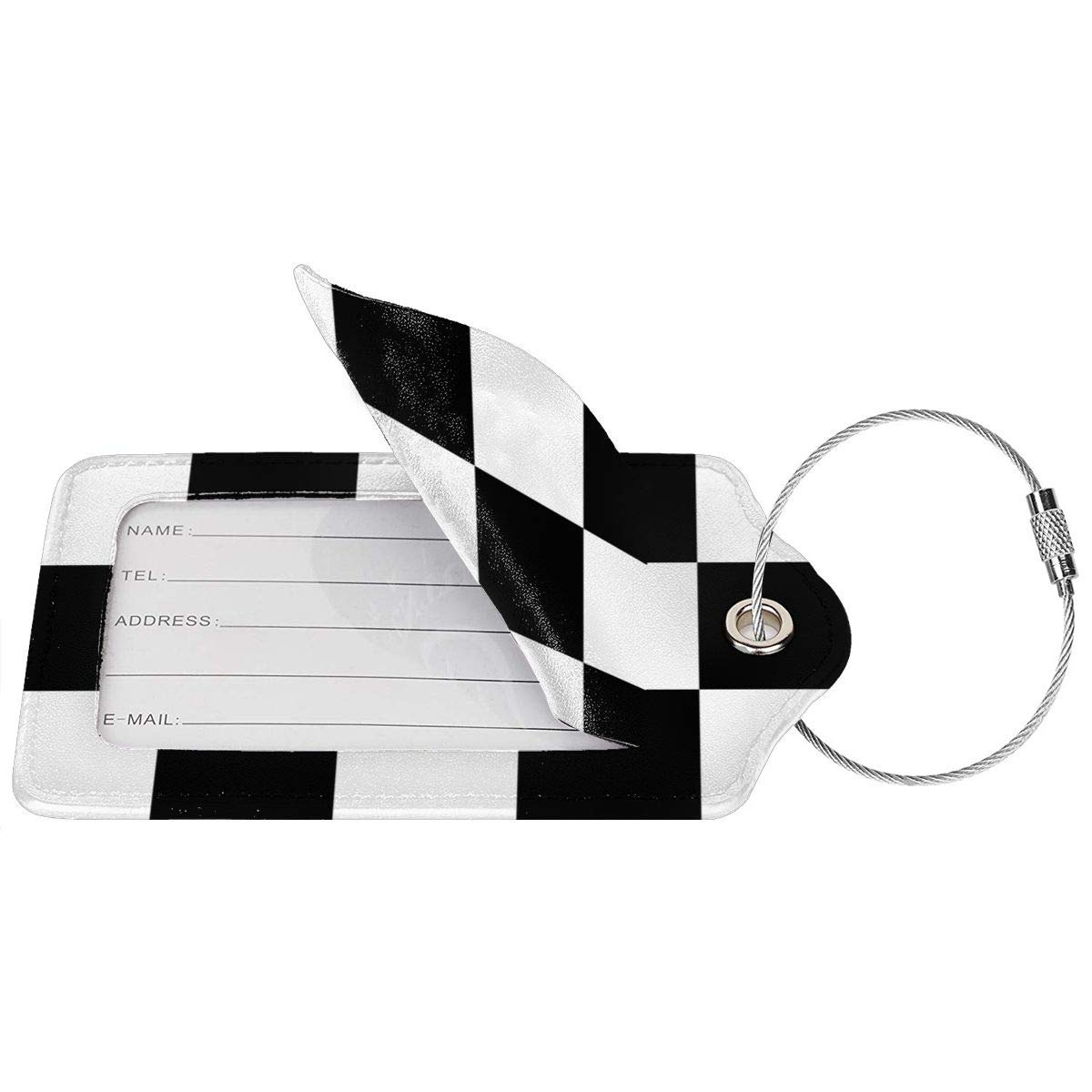 GoldK Checkered Flag Leather Luggage Tags Baggage Bag Instrument Tag Travel Labels Accessories with Privacy Cover