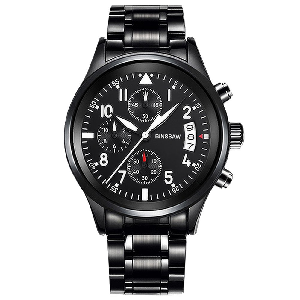 Men Quartz Sports Military Watch Luxury Brand Stainless Steel Calculagraph Luminous 100M Waterproof Watches by BINSSAW (Image #2)