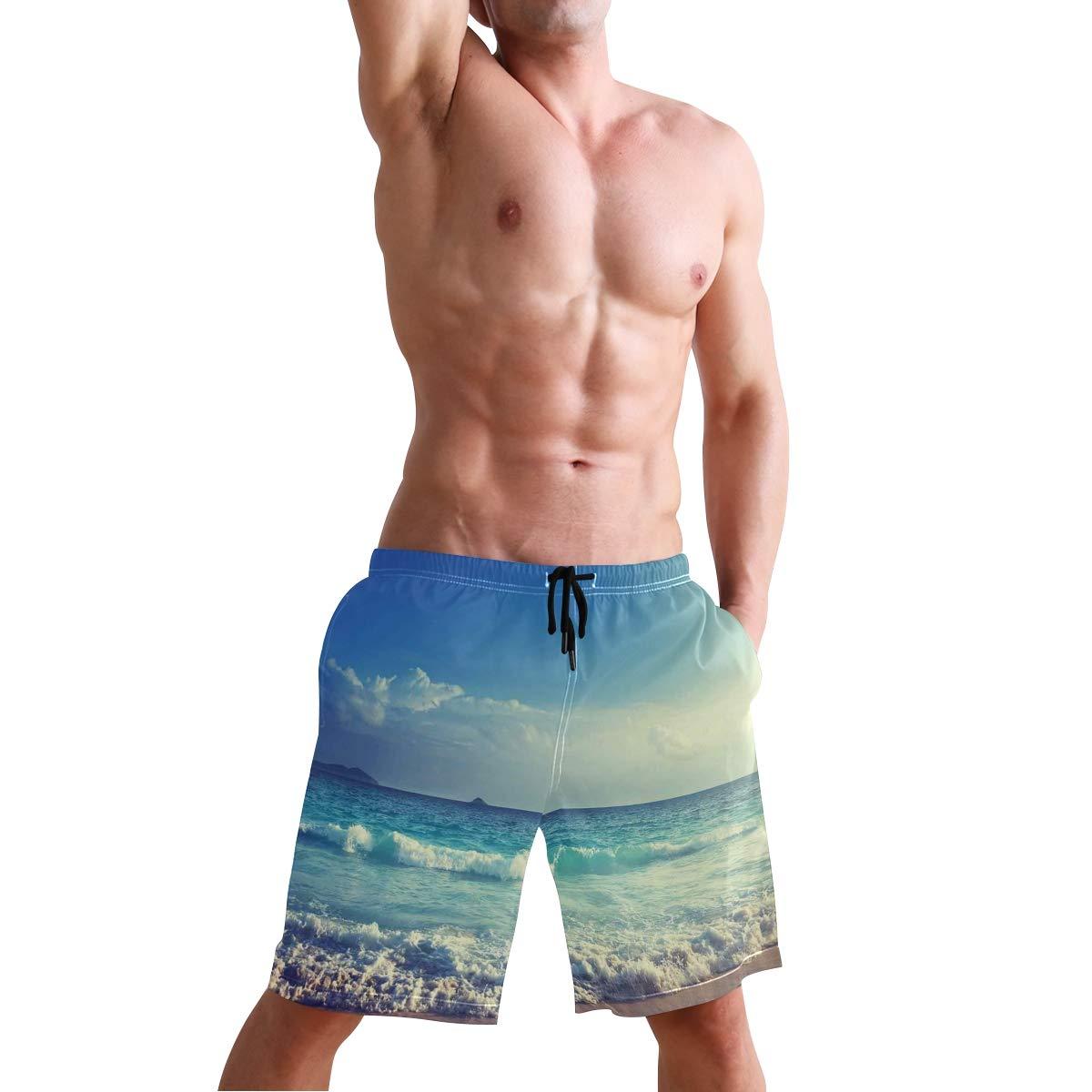 KVMV Tropical Hawaii Hibiscus Surfing Girl Silhouette Surfboard Retro Themed Quick Dry Beach Shorts