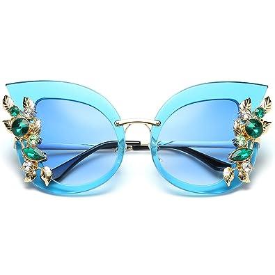 Yoli Strass Lunettes de soleil , rétro lunettes de soleil de sport en plein air 14.7cm (bleu)