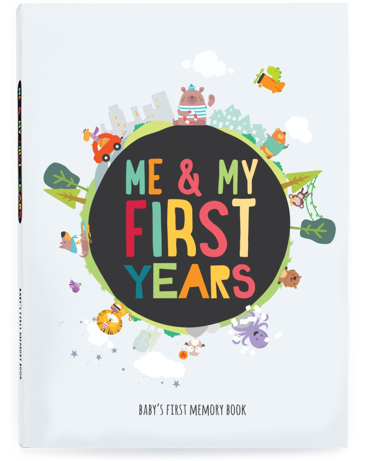Me & My First Years Baby Memory Book - Animals. Personalised album for photos, pictures & development. Perfect Baby Shower Gift. (White) The Station Products