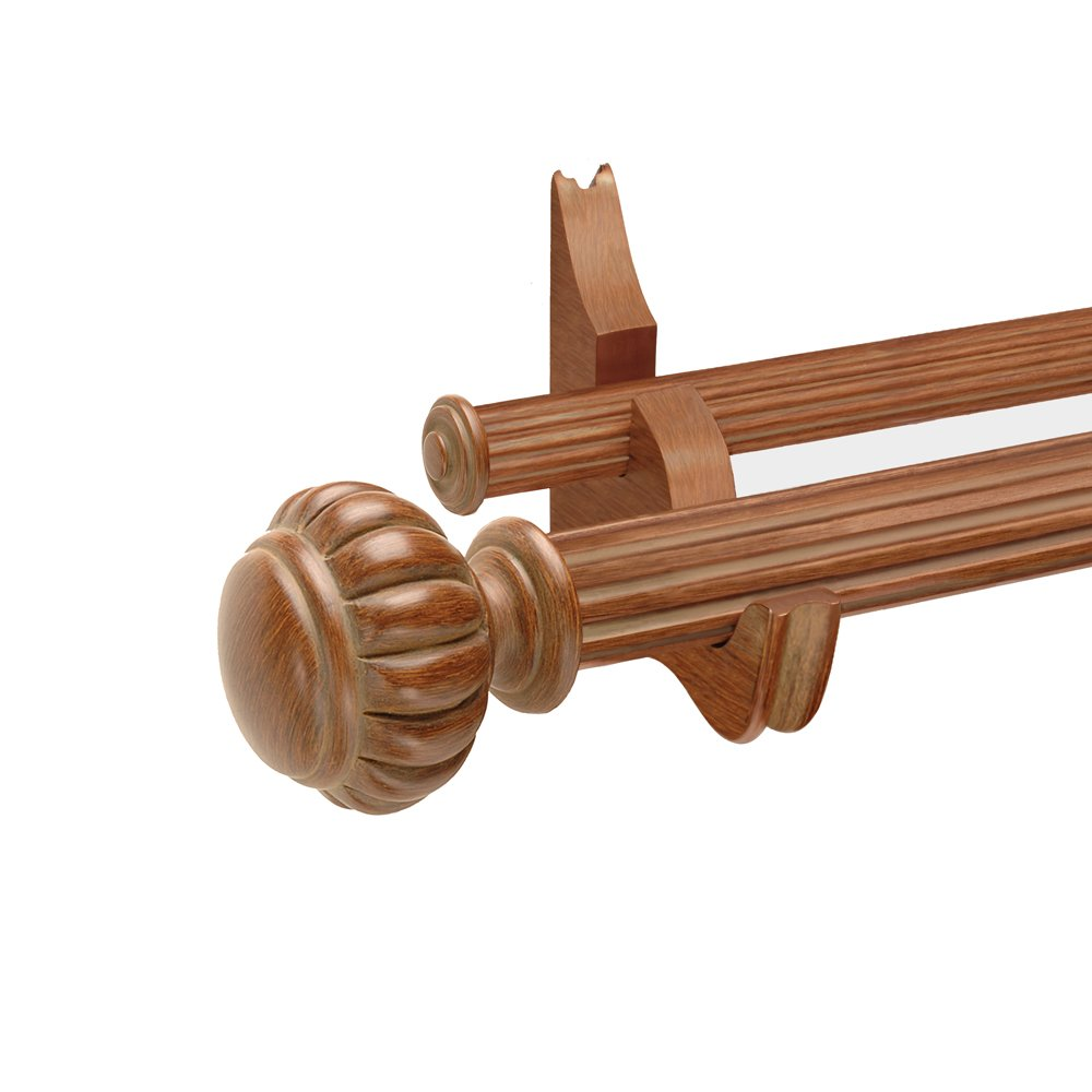 Designer Hardware Maya 4-Feet Double Drapery Rod Set in Warm Oak Finish with 2-Inch and 1-3/8-Inch Fluted Wood Poles and Decorative Resin Finials