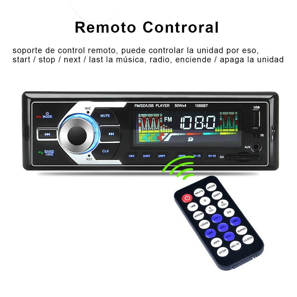 Radio de Coche de audio USB/SD/MP3 Receptor Bluetooth manos libres con control remoto Negro