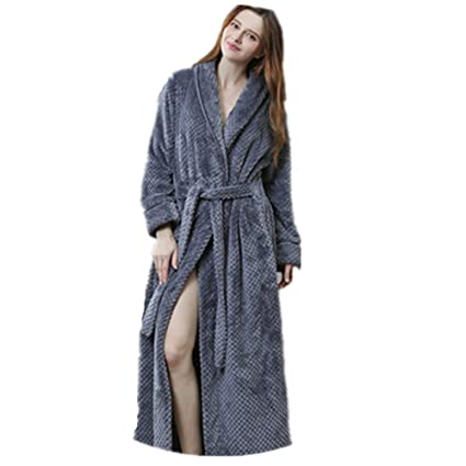 dfdbf77989 Image Unavailable. Image not available for. Color  Flannel Home Bathrobe  Thick Slightly Woman Man s Couple ...
