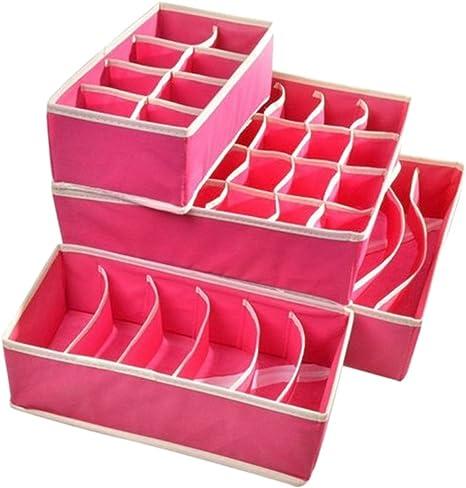 niceeshop(TM) Caja de Almacenamiento de Cajón Divisores Organizadores de Ropa Interior Sujetador Calcetines (Rosa Profunda, Juego de 4): Amazon.es: Hogar